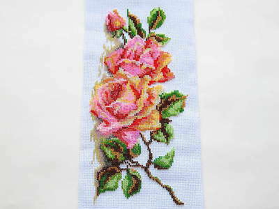 Finished Completed Handmade Beaded Embroidery Picture Beadwork Rose