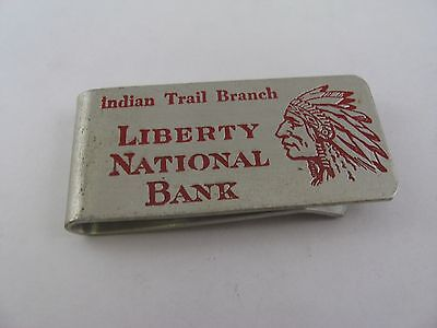 Rare Vintage Liberty National Bank Indian Trail Branch Money Clip Alumaline