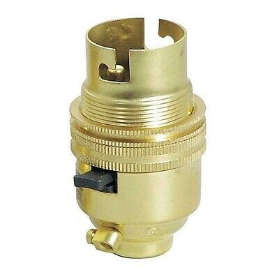 """New Brass Switched Lamp Holder BC/ B22 Bayonet Cap1/2 """"13mm Screw BaseWith Earth"""