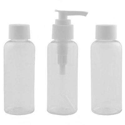 3 Plastic Transparent Travel Bottles Set 80ml Clear Air Airport Flight Holiday
