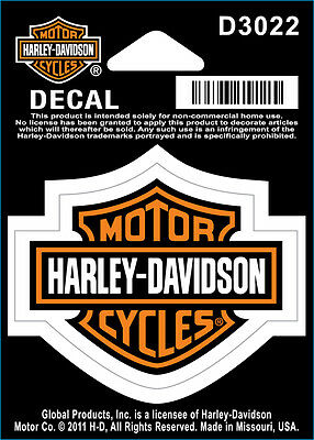 "Harley-Davidson Aufkleber/Decal ""BAR + SHIELD ORANGE"" klein *D3022* 2er-Set"