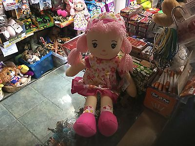 """Large 20"""" Dream Creations  Ragdoll Soft Toy Doll In Pink Floral Dress New Tags"""