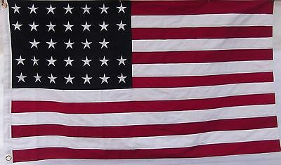HEAVY COTTON 33 STAR AMERICAN FLAG - Embroidered & Sewn - HISTORICAL USA
