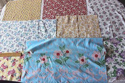 Lot of 8 Vintage Cotton Floral Feedsack Printed Fabrics c1940~Quilters,Projects
