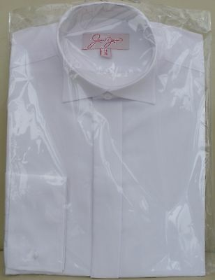 NEW MENS WHITE FORMAL WEDDING/EVENING SHIRT WITH WING COLLAR/ adjustable button
