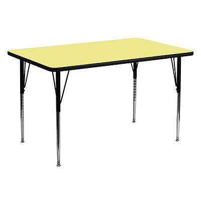 30''W x 60''L Rectangular Activity Table with Yellow Thermal Fused Laminate Top