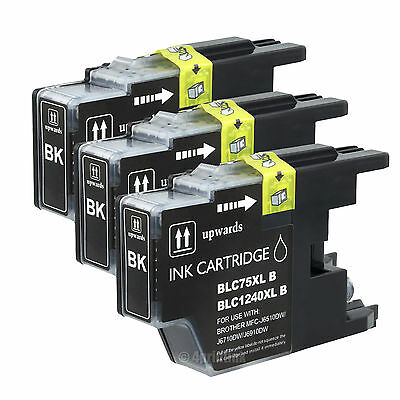 3 Pk LC75 LC-75 Black Ink For Brother MFC-J5910DW MFC-J6510DW MFC-J6710DW