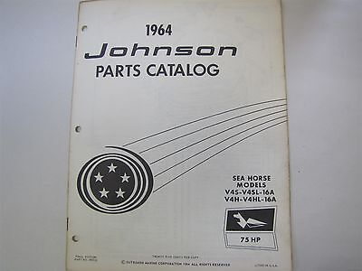 Used 1964 Johnson V4S V4Sl 16A Sea Horse 75Hp Parts Catalog/list