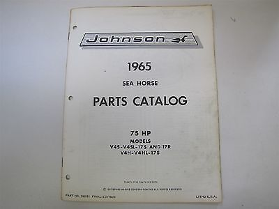Used 1965 Johnson V4S V4Sl 17S 17R Sea Horse 75Hp Parts Catalog/list