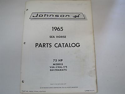 Used 1965 Johnson 14A V4Al 17S Sea Horse 75Hp Parts Catalog/list