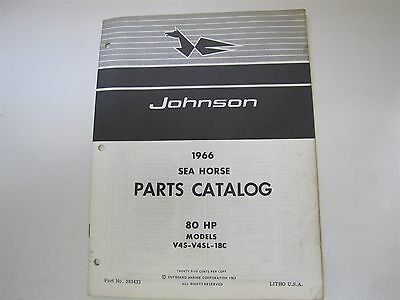 Used 1966 Johnson V4S V4Sl 18C Sea Horse 80Hp Parts Catalog/list