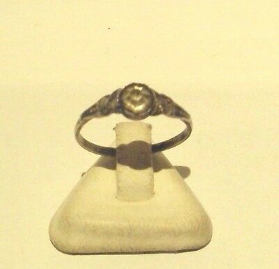 Vintage Excellent Early 20Th Century Silver Ring With White Stone # 755