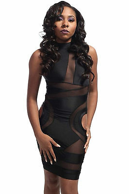Mini Abito cono aperto nudo trasparente aderente Mesh Cut-out Bodycon Dress M