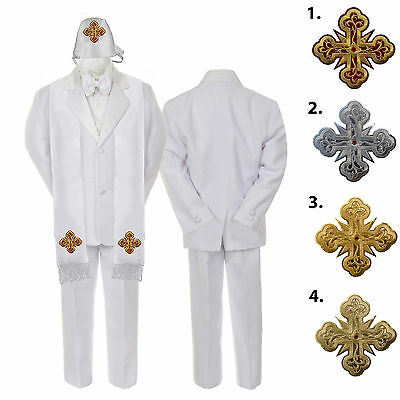5-7pc White Baby Kid Boy Christening Satin Formal Tuxedo Suits Cross Hat Stole