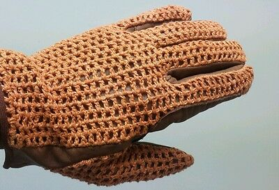Brand New Horse Riding Gloves Genuine Leather Crochet Net Design, XXLarge 6792