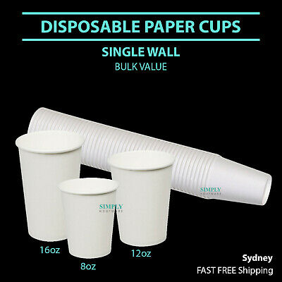 Disposable Paper Cups Coffee Takeaway 8oz Single Wall Drink Tea Water White Bulk
