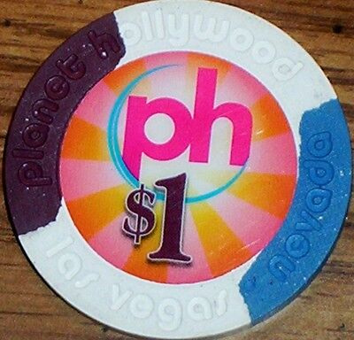 Old $1 PLANET HOLLYWOOD Casino Poker Chip Vintage House Mold Las Vegas NV