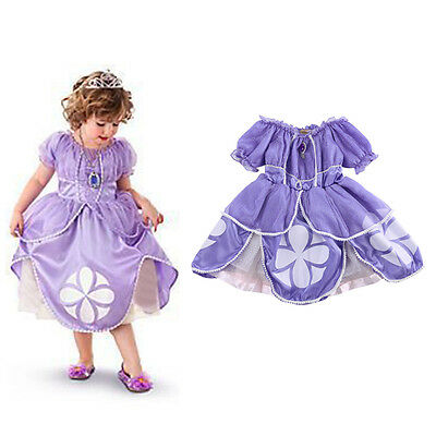 Child Little Sophia Princess Girls Kids Fancy Dress Book Week Costume Dress 2-7Y