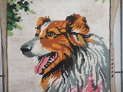 Tapestry Wall Hanging  Picture Dog Lassie Completed And Framed