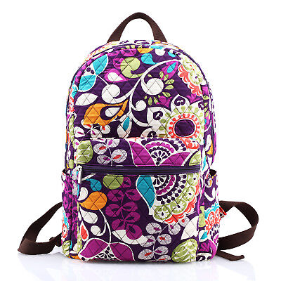 Large Quilted Cotton Floral Zippered School Campus Backpack Baby Bag Plum Crazy