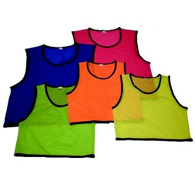 10 Mesh Football Bibs Kids Junior Kids Red Blue Green Flo Orange SMALL Youth
