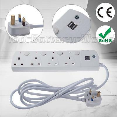 UK 4 Gang Way 2 USB 13A Trailing Switch Socket Mains Power Extension Lead 3M