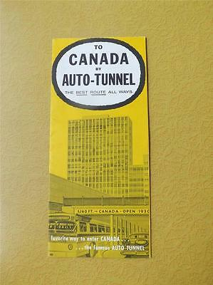To Canada By Auto Tunnel Travel Brochure Flyer Map Cross Detroit River 1959