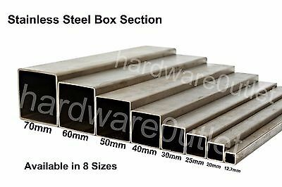 Stainless Steel BOX Section grade 304 - 8 Popular Sizes & 10 Lengths Available