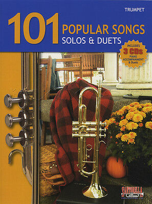 101 Popular Songs Solos & Duets for Trumpet Sheet Music Book with CDs