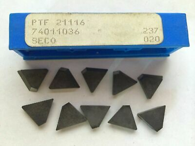 10 Pcs Seco PTF 21116 237 020 74011036 Lathe Mill Carbide Inserts Tools Tool New