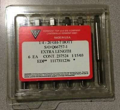 Lot of 6 VERMONT Taps 1/4 - 20 Bottom GH-7 Extra Length USA Made Q66757-1 New