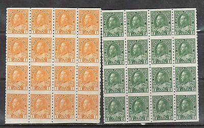Canada #126a #128a VF/NH Imperf Block Of Sixteen