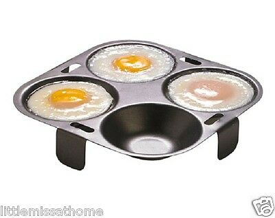 Egg Poaching Insert * Non Stick 4 Poacher Poached * Holder Tray For Frying Pan