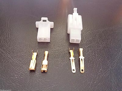 2 Pin Automotive Plug Pair - for Motorbike, RC Cars, Drones - 3mm Terminals