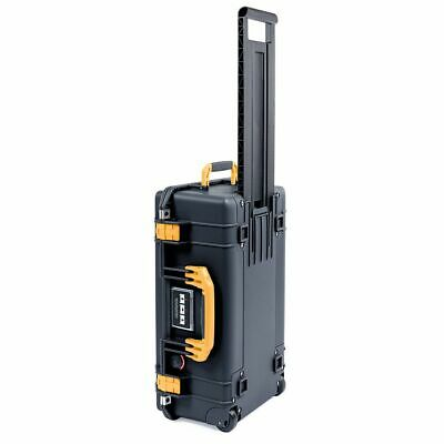 Black with Yellow Handle & latches. Pelican 1535 Air No Foam.  With wheels.