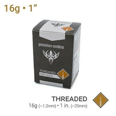 "16g Threaded Sterilized 1"" Piercing Needles — Box of 100"