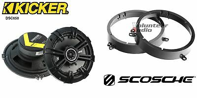 Kicker DSC650 6.5 Speakers + 1 Pair Front Adapters For Honda Accord & Civic