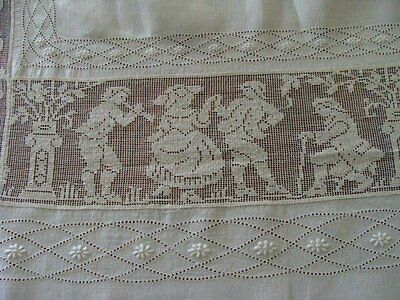 "AMAZING Antique Linen FIGURAL Lace Tablecloth 111"" Bedspread Hand Embroidered"