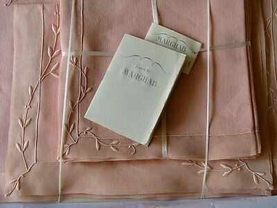 UNUSED 17pc MARGHAB Linen Organdy Placemats PINK Trailing Vine MADEIRA Embroider