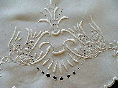 Antique Victorian Linen Tablecloth In Between Cloth Whitework Hand Embroidered