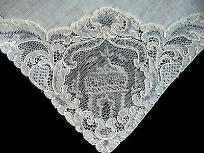 12 MAGNIF Antique HUGE Alencon Lace Linen Napkins Lapkins UNUSED Brussels Lace