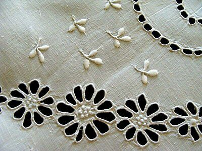 """FAB EARLY Antique MADEIRA White Linen Tablecloth 45"""" ROUND Topper Tea Luncheon"""