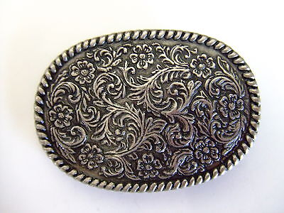 Oval Flower Design with rope edge Nickle Belt Buckle Small By Century Canada