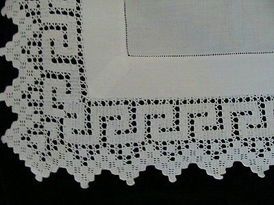 "Antique Victorian Linen Hand Made Lace English Tea Tablecloth 33"" Greek Key"