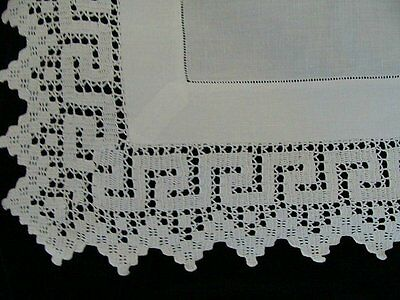 """Antique Victorian Linen Hand Made Lace English Tea Tablecloth 33"""" Greek Key"""