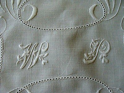 Antique Victorian Linen Nighty Case Boudoir Pillowcase W P Monogram PRISTINE