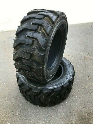 2 NEW 27X10.50-15 Deestone Skid Steer Tires-27X10.5-15-8 Ply-for Bobcat and more