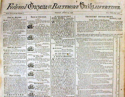 Rare original 1798 BALTIMORE FEDERAL GAZETTE Maryland newspaper 217 years old