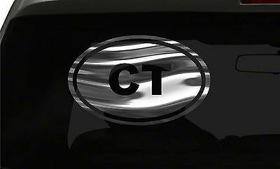 CT Sticker Connecticut State oval euro all chrome & regular vinyl color choices