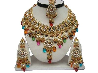 Bollywood Partywear Gold Plated Kundan Necklace Set Jewelry Earrings Tikka